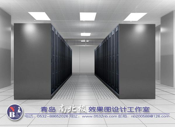 青岛监控中心电视墙效果图-青岛机房设计效果图-机房