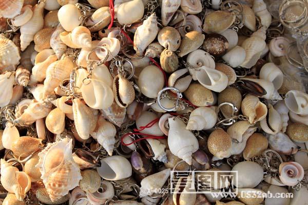 青岛海边旅游纪念品-贝壳钥匙环